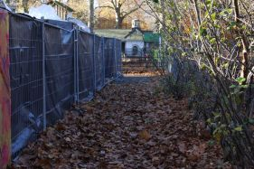 Winter wonder at Coram's Fields: This is the corridor of space left to reach swings, flying fox, and the play area.